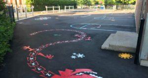 Linjemålning av skolgårdar och lekplatser