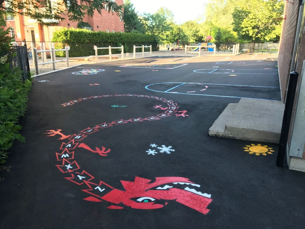 linjemalning skolgård lekplats